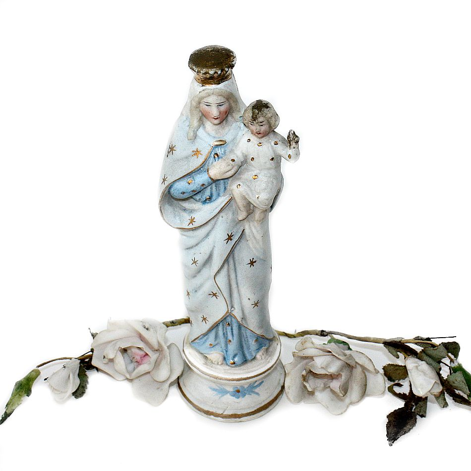 Antique French Porcelain Bisque Holy Virgin Mary Figure
