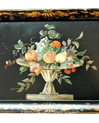 French Country Toleware Tray with Fruit Urn