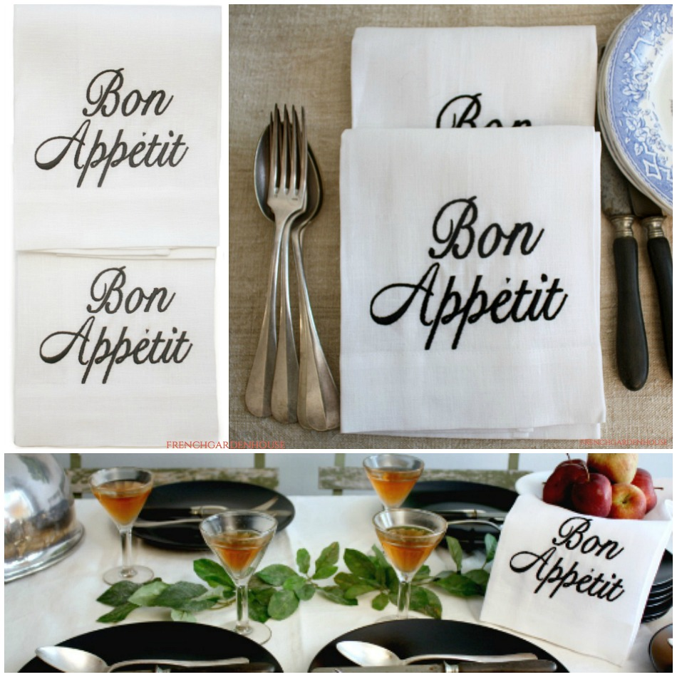 French Country Organic White Linen Bon Appetit Hand or Dish Towel