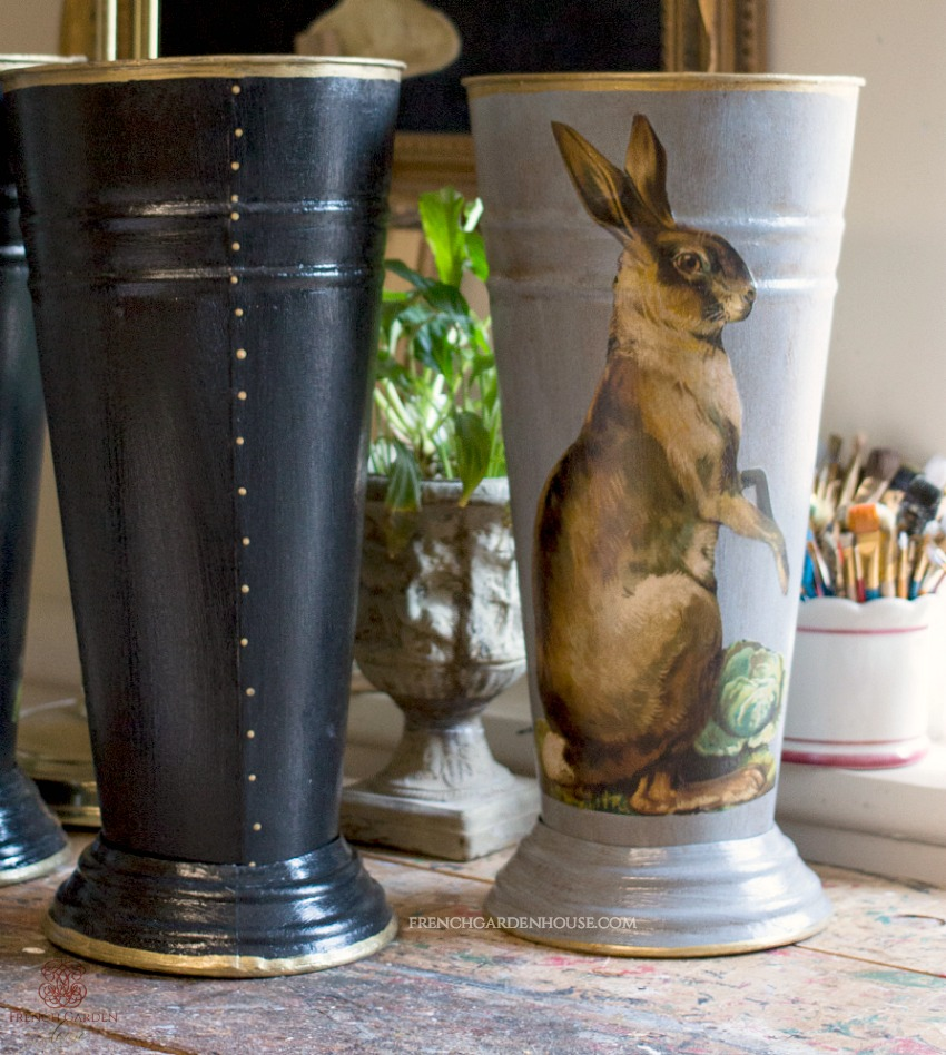 Limited Edition French Country Flower Bucket Hare Black
