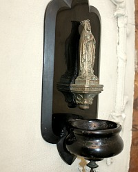 Antique French Mid 1800's Black Madonna Benitier Souvenir