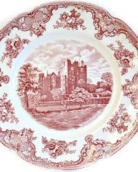1920 Vintage Red Transferware Old Britian Castles Large Plate