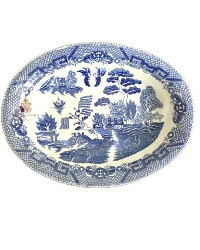 Vintage Chinoiserie  Blue Willow Serving Bowl