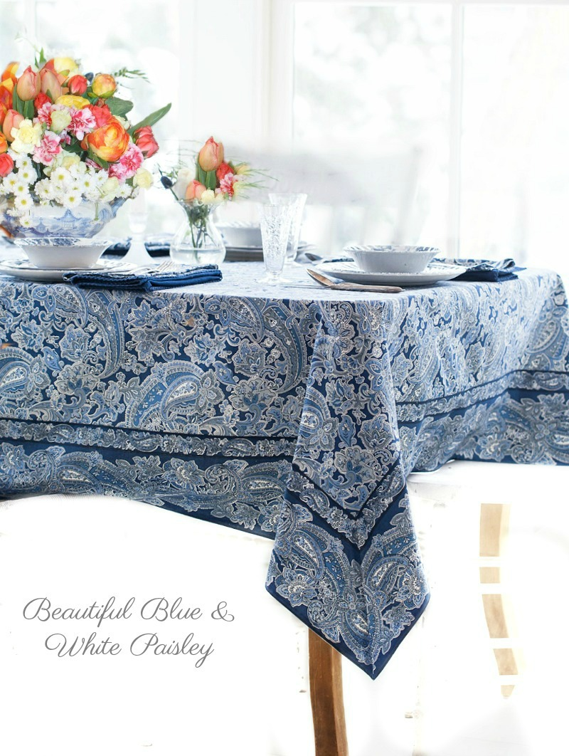 Fine Blue White Paisley Tablecloth And Napkin Set Interior Design Ideas Oxytryabchikinfo
