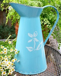 Antique French Blue Enamelware Body Pitcher