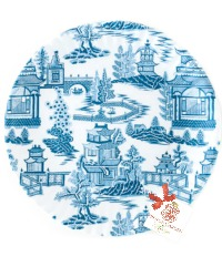 Chinoiserie Blue and White Melamine Plates Set 4