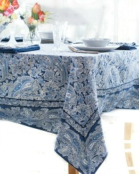 Blue & White Paisley Tablecloth
