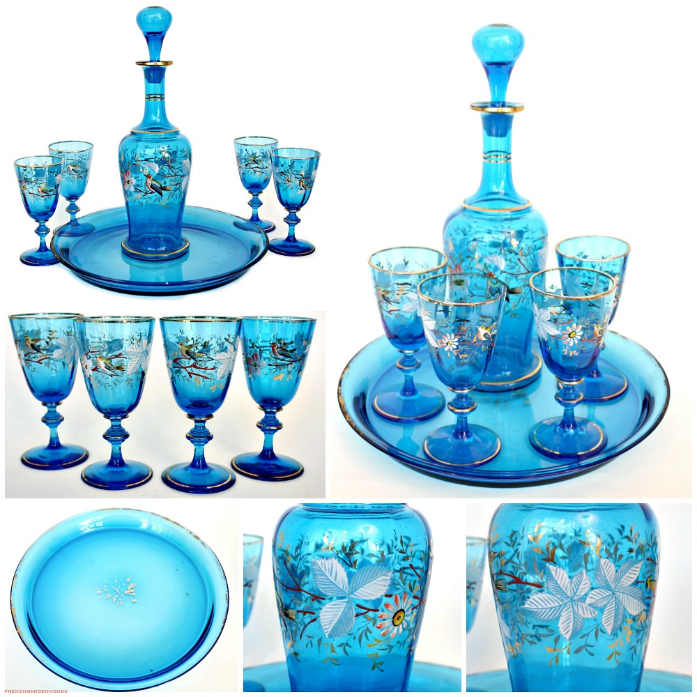 Fine Antique French Electric Blue Enameled Liqueur Decanter and Glass Set Birds