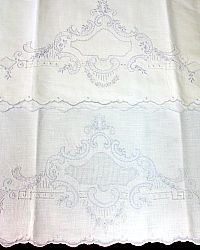 Antique Victorian Linen Hand Embroidered Pillowcases Pair Light Blue