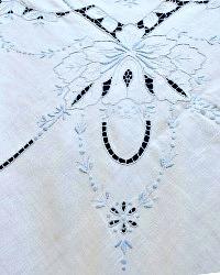 Vintage Hand Embroidered Madeira Linen Tea Cloth White Blue