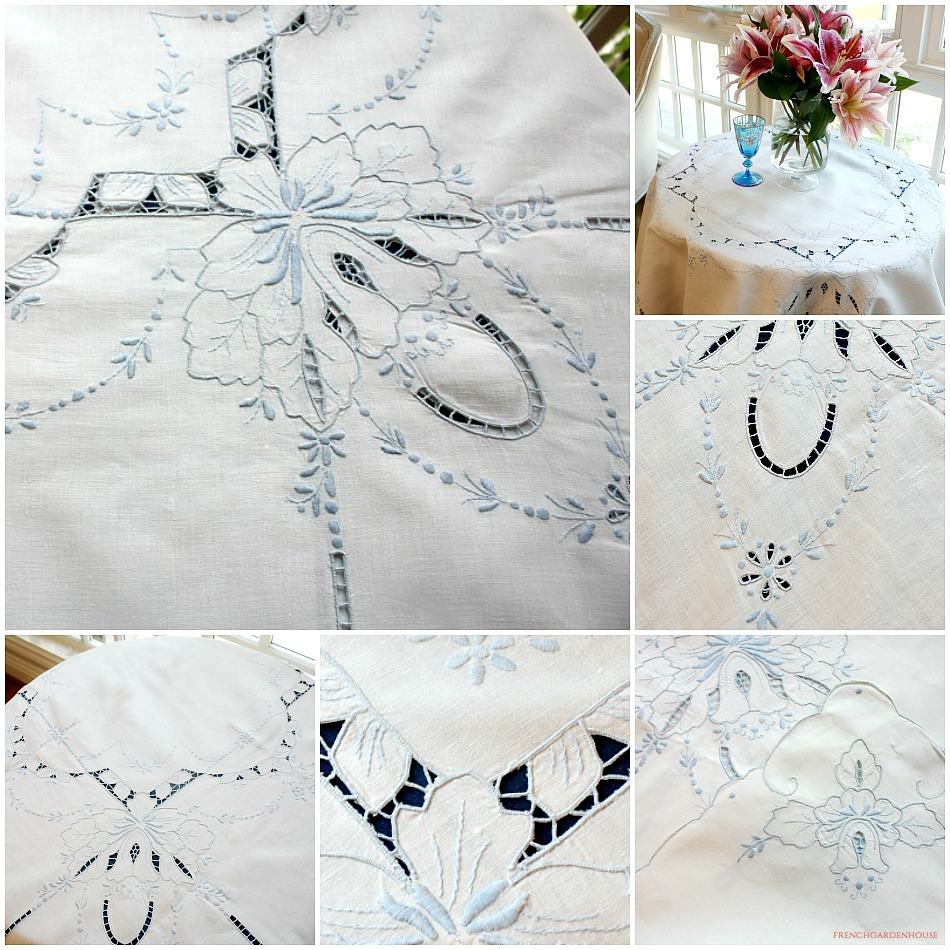 Vintage Hand Embroidered Madeira Linen Tea Cloth White Blue