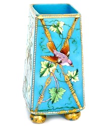 Antique Hand Painted Opaline Aqua Blue Vase Bird