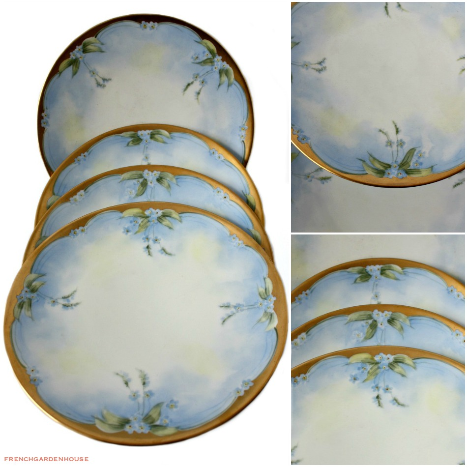 Antique O & E G Royal Austria Hand Painted Blue Forget Me Not Plate Set of 4