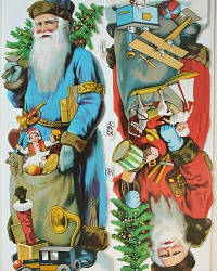 Rare Estate Large Father Christmas Die Cuts Scrap Blue