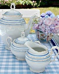 White Porcelain Rococo Style Blue and White Gilt 3 pc Tea Set