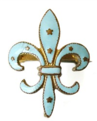 Antique French Guilloche Enamel Fleur de Lis Watch Pin