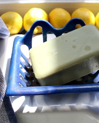 Antique French Blue Cast Iron Porcelain Enameled Soap Dish