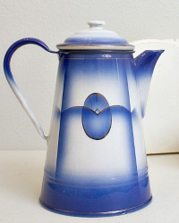 Antique French Blue Enamelware Coffee Pot Pristine