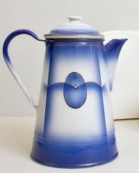 Antique French Blue Enamelware Coffee Pot Pristine