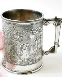 Antique Reed & Barton Quadruple Silver Plated Baby Cup Little Bo Peep