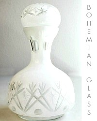 Antique Bohemian White  Cut to Clear Cased Glass Carafe
