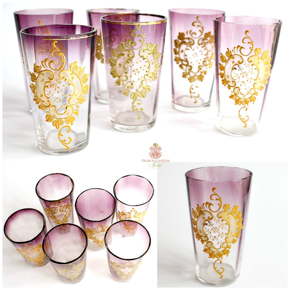 Antique Moser Purple Hand Painted Raised Gilt Enamel Aperitif Tumblers Set 6