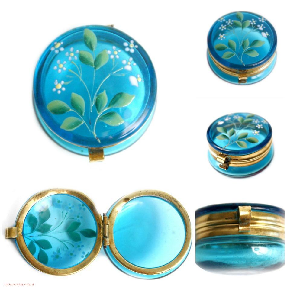 Antique Bohemian Floral Enamelled Aqua Blue Glass Box