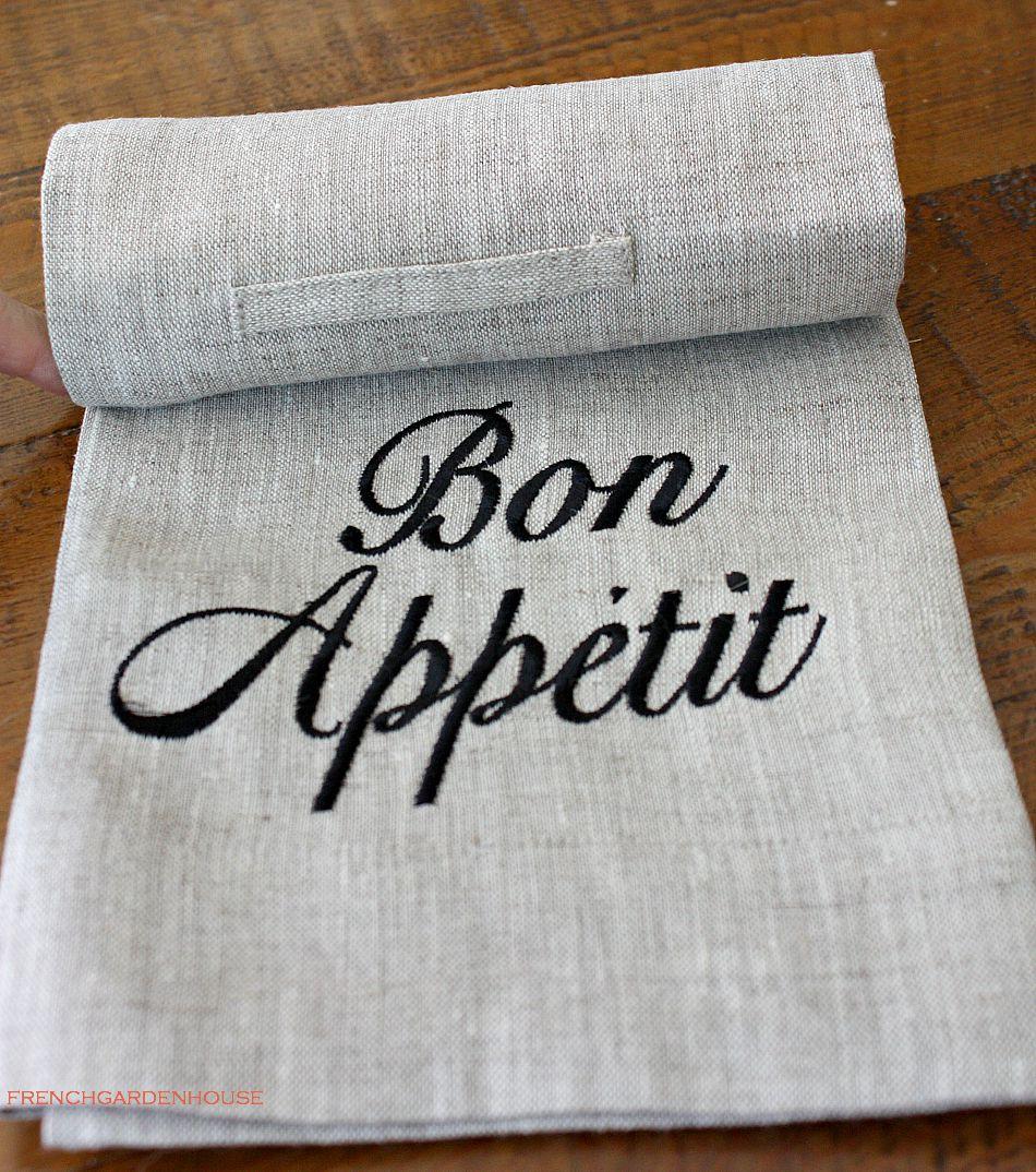 Organic Flax Linen Bon Appetit Hand or Dish Towel