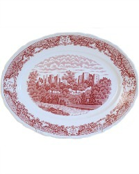 Vintage English Booths Red Transfer British Castles Platter
