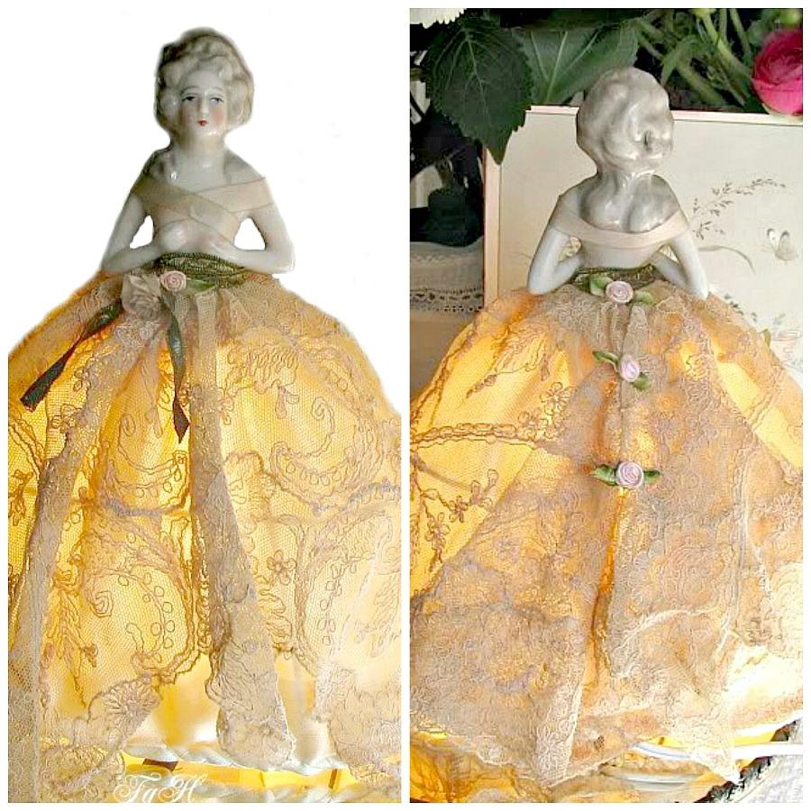 Antique Porcelain Half Doll Boudoir Lamp French Lace