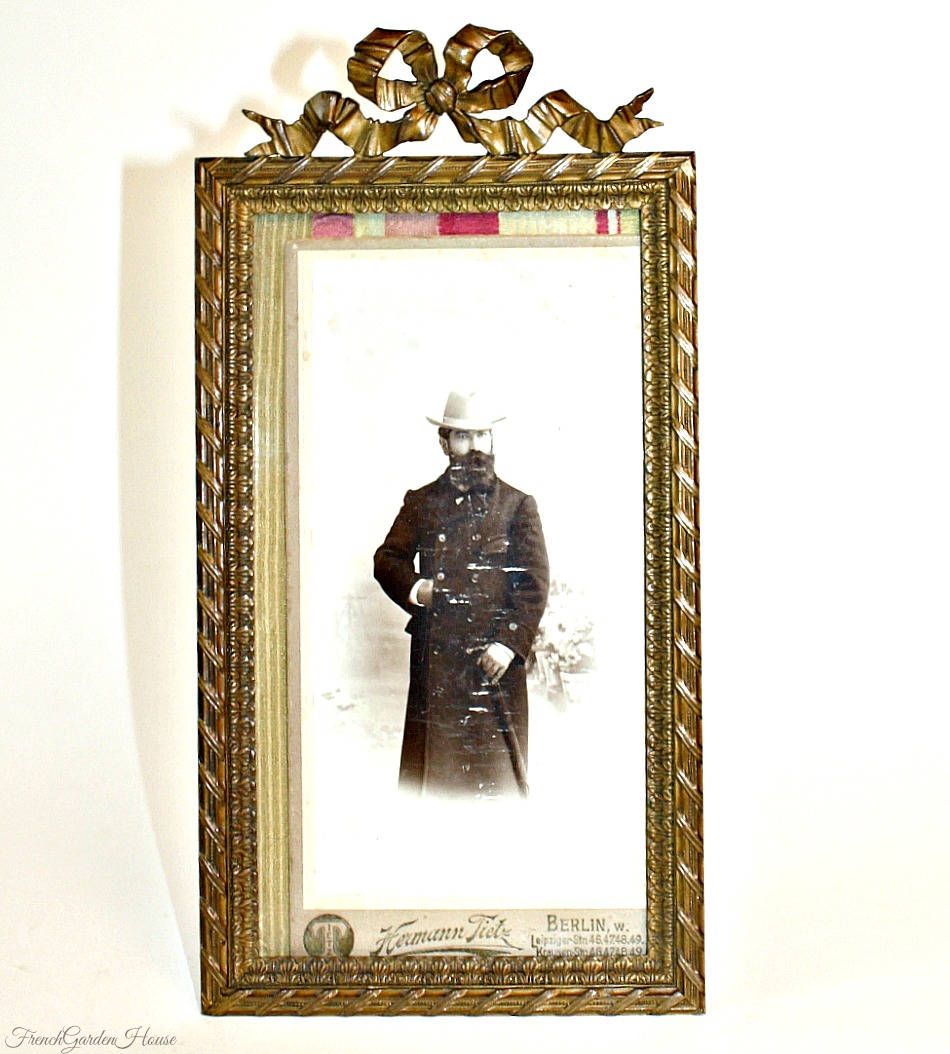 Antique 1800's Bronze Dore Picture Frame Ribbon Bow