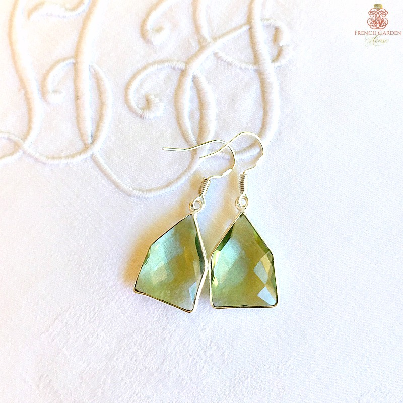 Natural Green Amethyst Earrings
