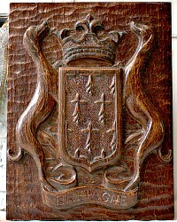 French Hand Carved Wood Coat Of Arms Crest Bretagne