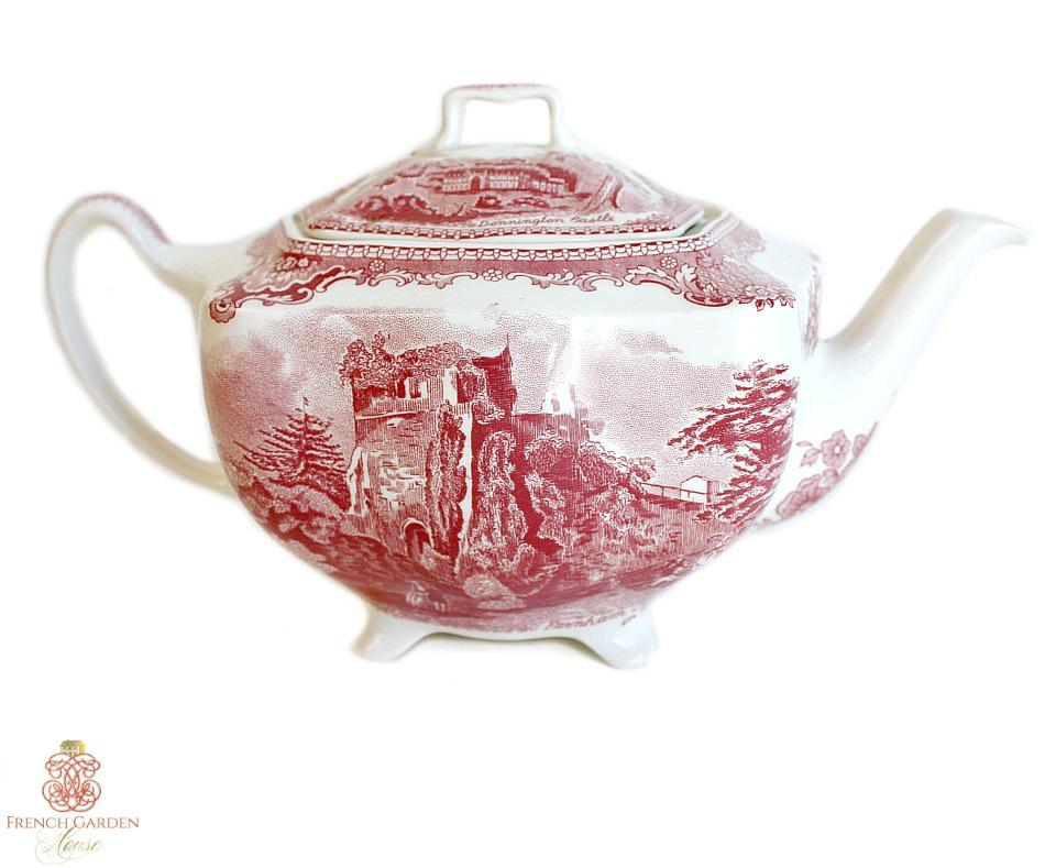 1930 Vintage Red Transferware Old British Castles Teapot