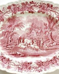 English Booths Pink Transferware Large Platter