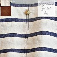 Brittany Blue Striped Linen Weekender