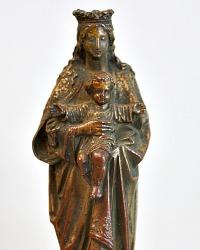 Antique French Bronzed Madonna & Child Figure