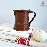 Antique French Country Brown Enamelware Pitcher