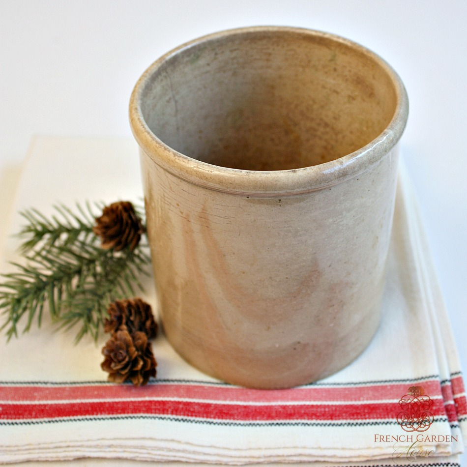 Antique French Pot Gres Confiture Enameled Jar
