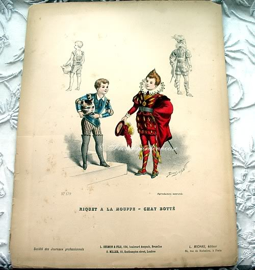 Antique French Children's Costume  Pochoir Print 1800s