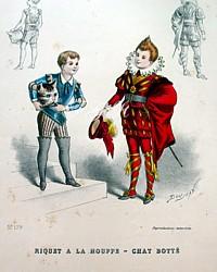 Antique French Children's Costume  Pochoir Print 1800s