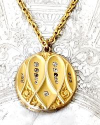 Antique Art Nouveau Gold Filled Paste Locket Heart