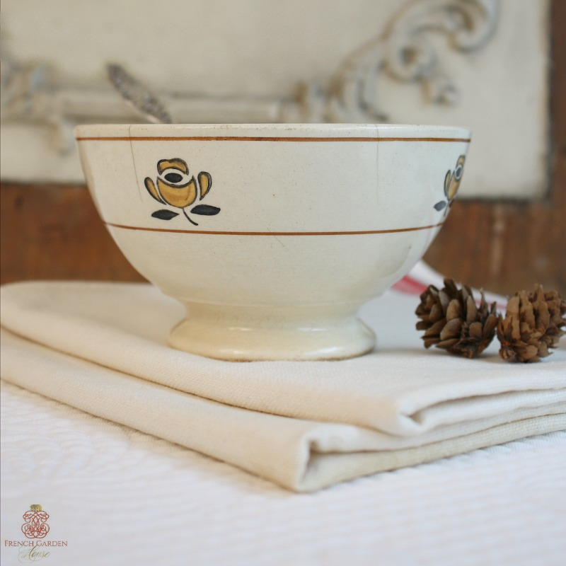 Antique French Country Yellow Rose Cafe au Lait Bowl