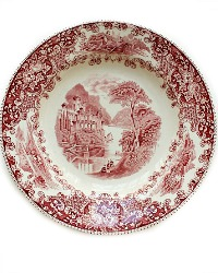 Antique Red Transferware Shallow Plate Maastricht