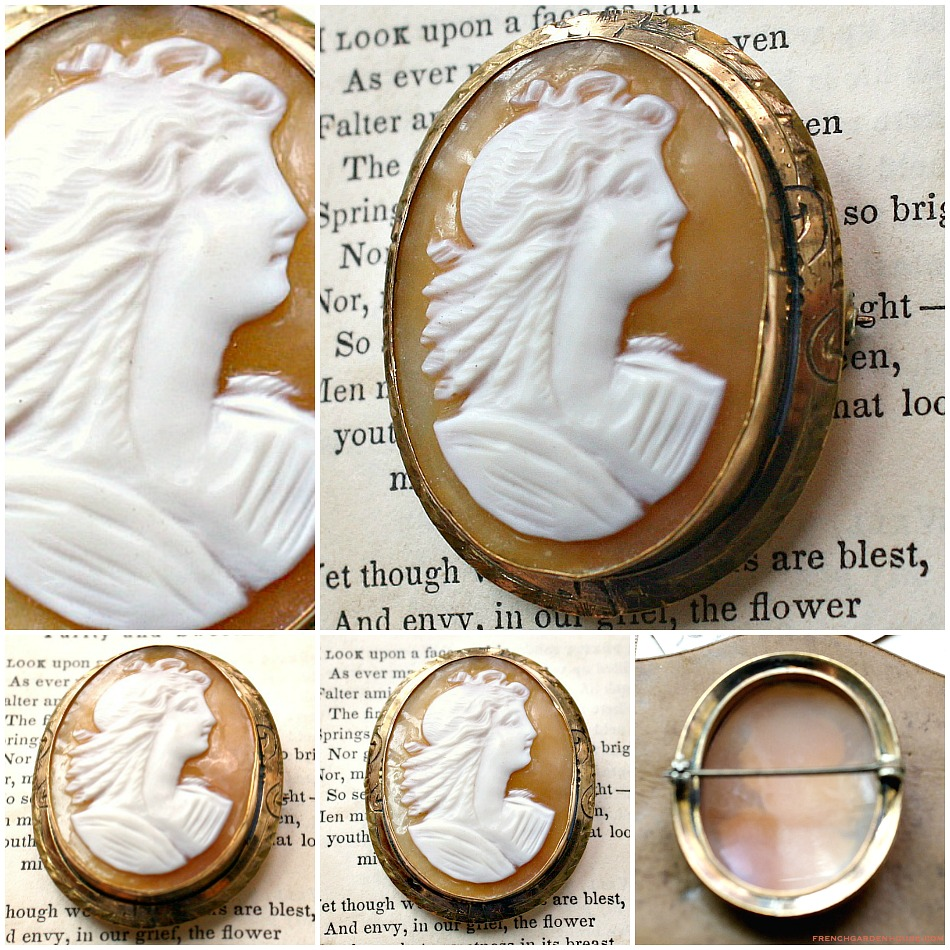 Italian Hand Carved Cameo Brooch Pin Lady Portrait