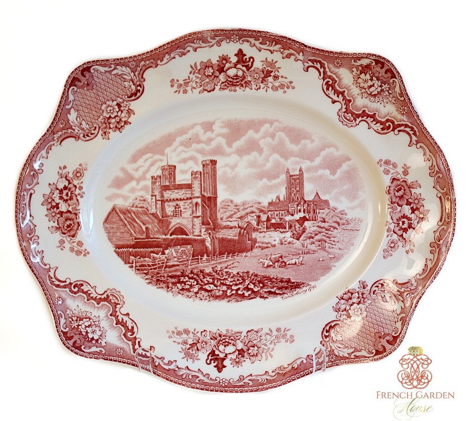 Vintage English Old British Castles Red Transferware Large Serving Platter