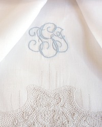 Heirloom Cantu Lace White and Blue Monogrammed Guest Towel Pair T G J