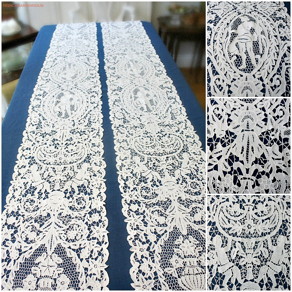 Rare Antique Ornate Cantu Lace Table Runner with Cherubs
