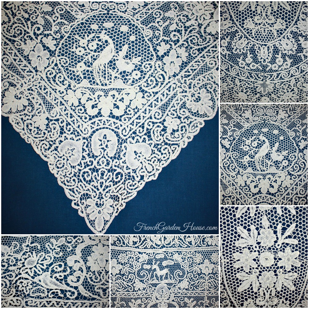 Exceptional Heirloom Antique Cantu Lace Figural Tablecloth Reindeer Peacocks