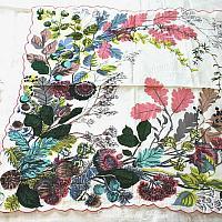 Vintage Designer Carol Stanley Studio Large Pink Leaves Handkerchief